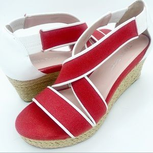 Taryn Rose Like New Red w/ White Trim Rope Wedges